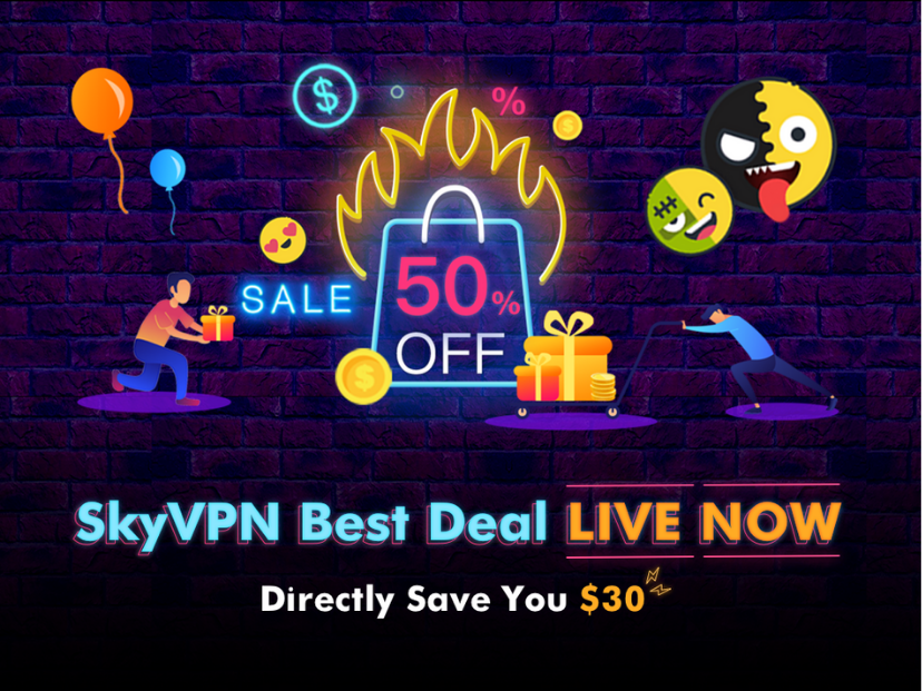 Can't-Miss SkyVPN Deal: 50% Off with $30 Saved, for 1-Year Plan